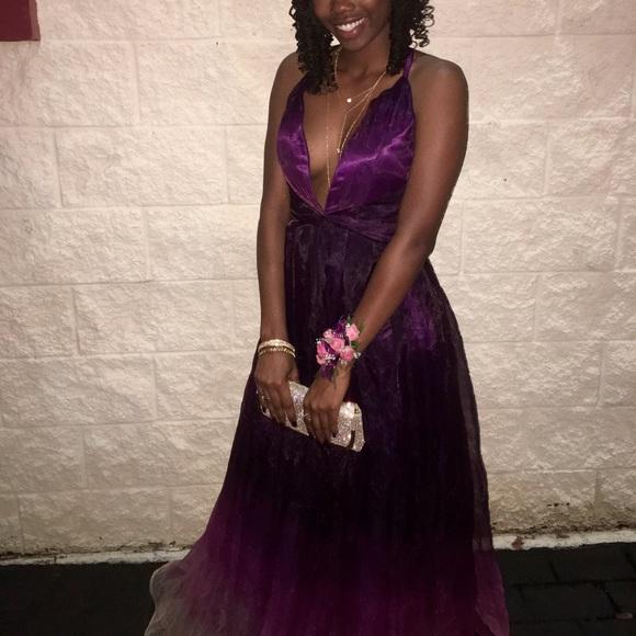 Dresses | Dark Purple Ombr Prom Dress With Deep Vcut | Poshmark